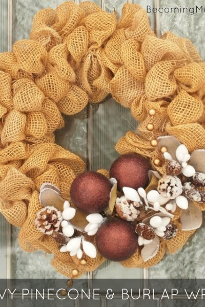 Burlap and Snowy Pinecone Winter Wreath