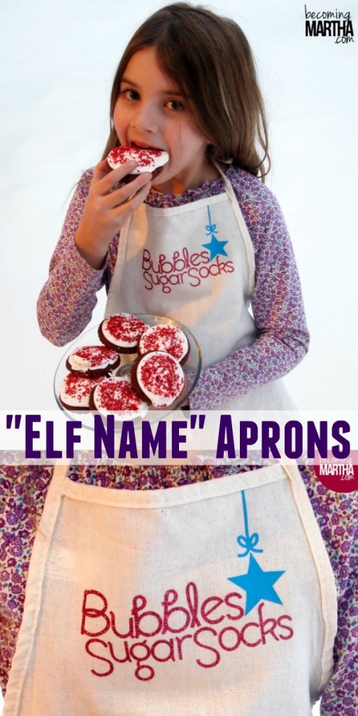 Create these cute elf name aprons for your kids with your Cricut and some Iron on Vinyl!