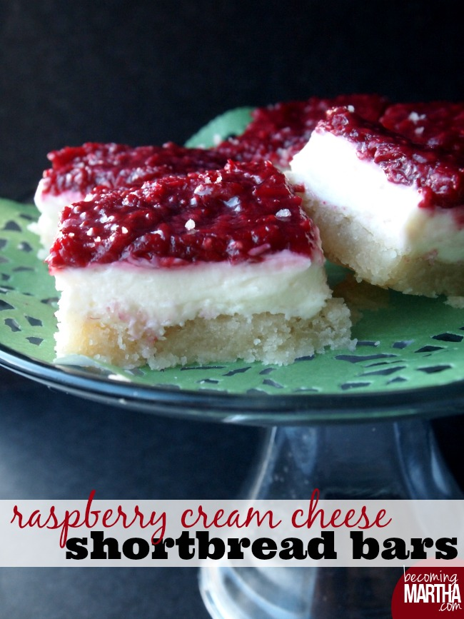 Raspberry Cream Cheese Shortbread Bars