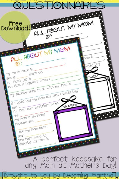 All About My Mom - a fun questionnaire fo rkids to fill out and a wonderful keepsake for Mother's Day!