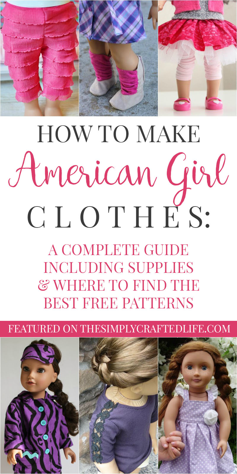 """How to Make American Girl Doll Clothes - a complete guide to free American Girl patterns to make your own clothes for 18"""" dolls."""