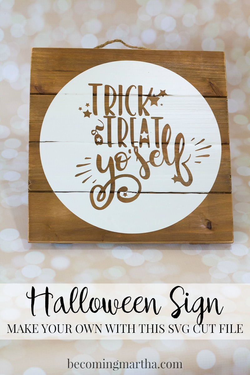 Use this Trick or Treat Yo'self Halloween SVG file from to create your own Halloween sign in under 15 minutes - perfect to hang on any door!
