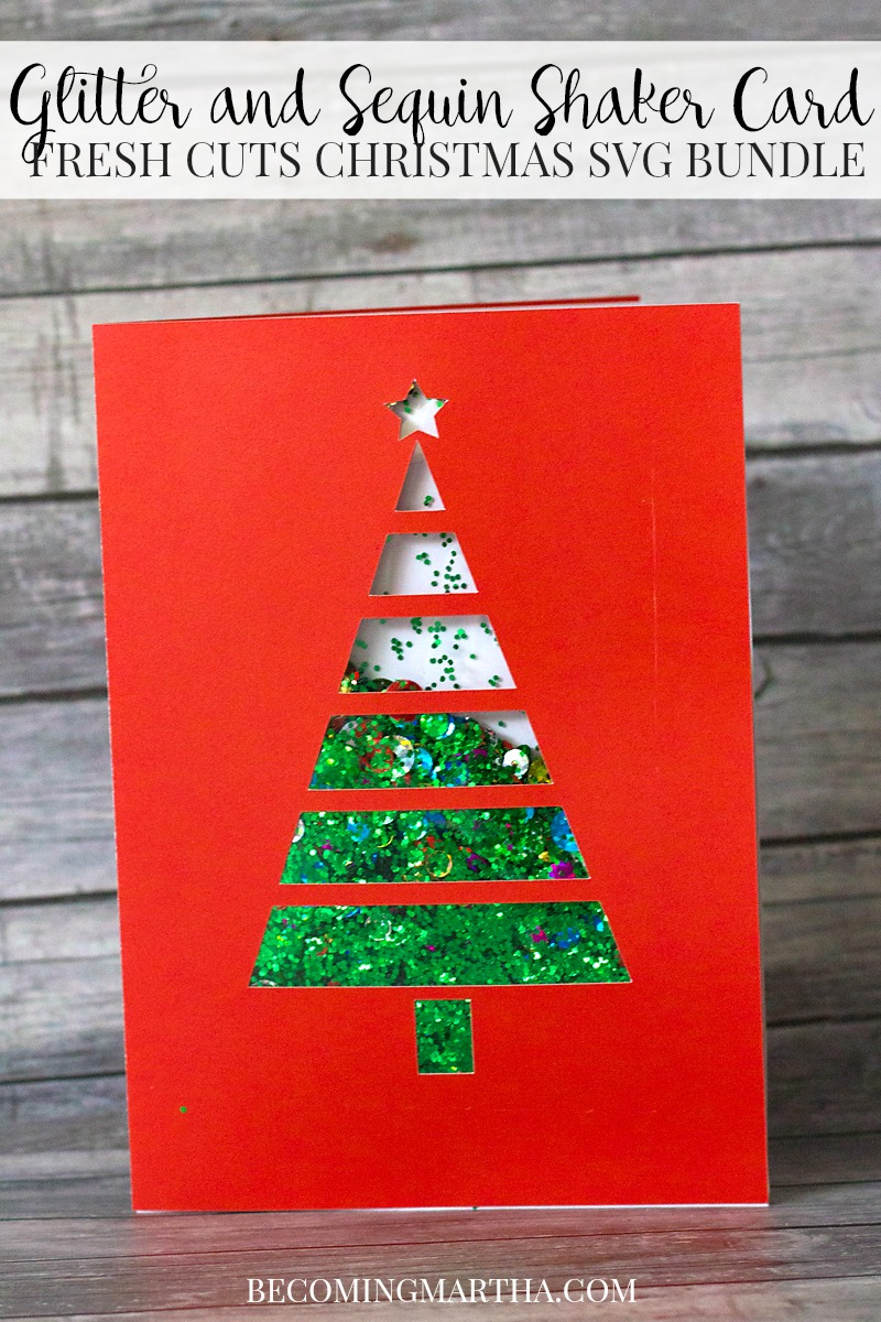 Looking for a great Free Christmas Card SVG? This Glitter & Sequin Shaker Card (with matching gift tag) is a free download and comes with a complete project how to!