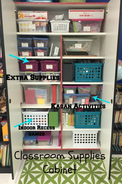 Organized Cabinets- This classroom cabinet is full of classroom supplies organized in baskets and boxes.