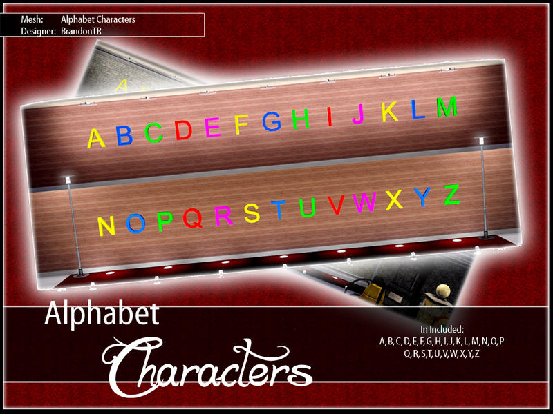 BrandonTRs Set Alphabet Characters Decoration