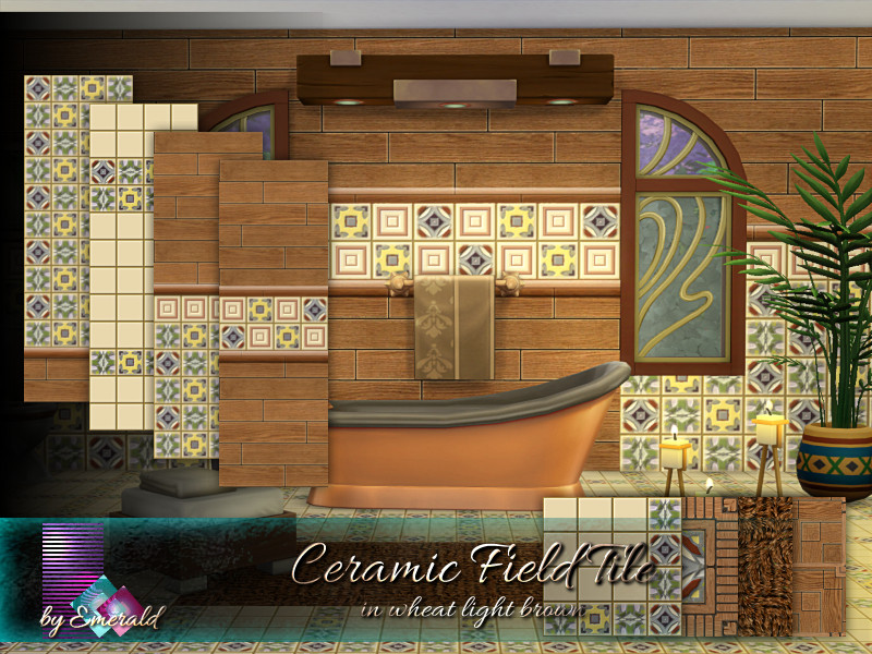 ceramic field tile in wheat light brown