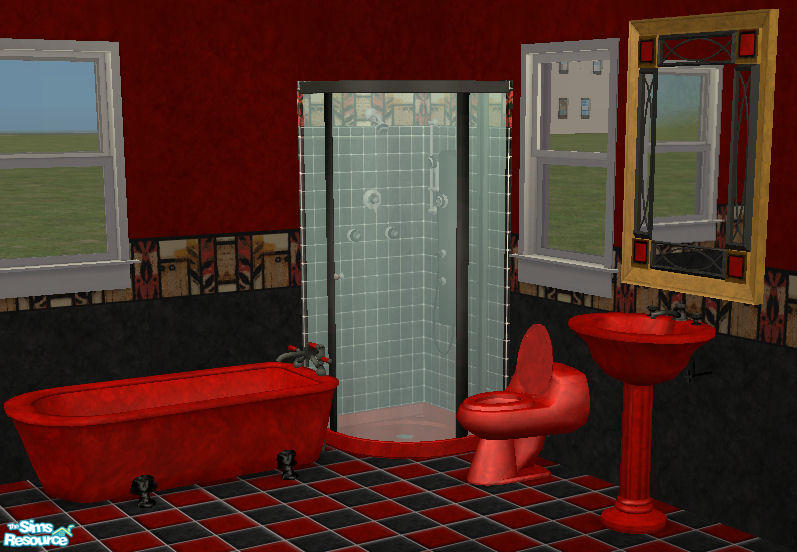 red1060s Reds Red n Black Abstract Bathroom