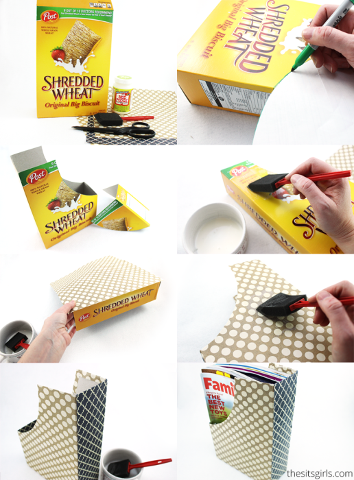 Awesome ways to recycle cereal boxes. Turn old cereal boxes into magazine or coloring book holders.