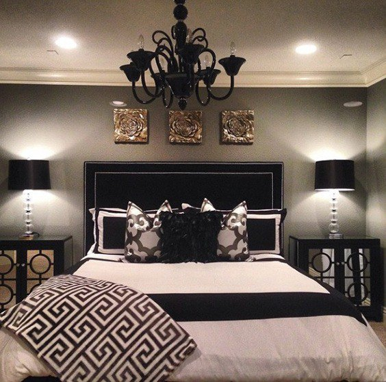 bedrooms with black furniture