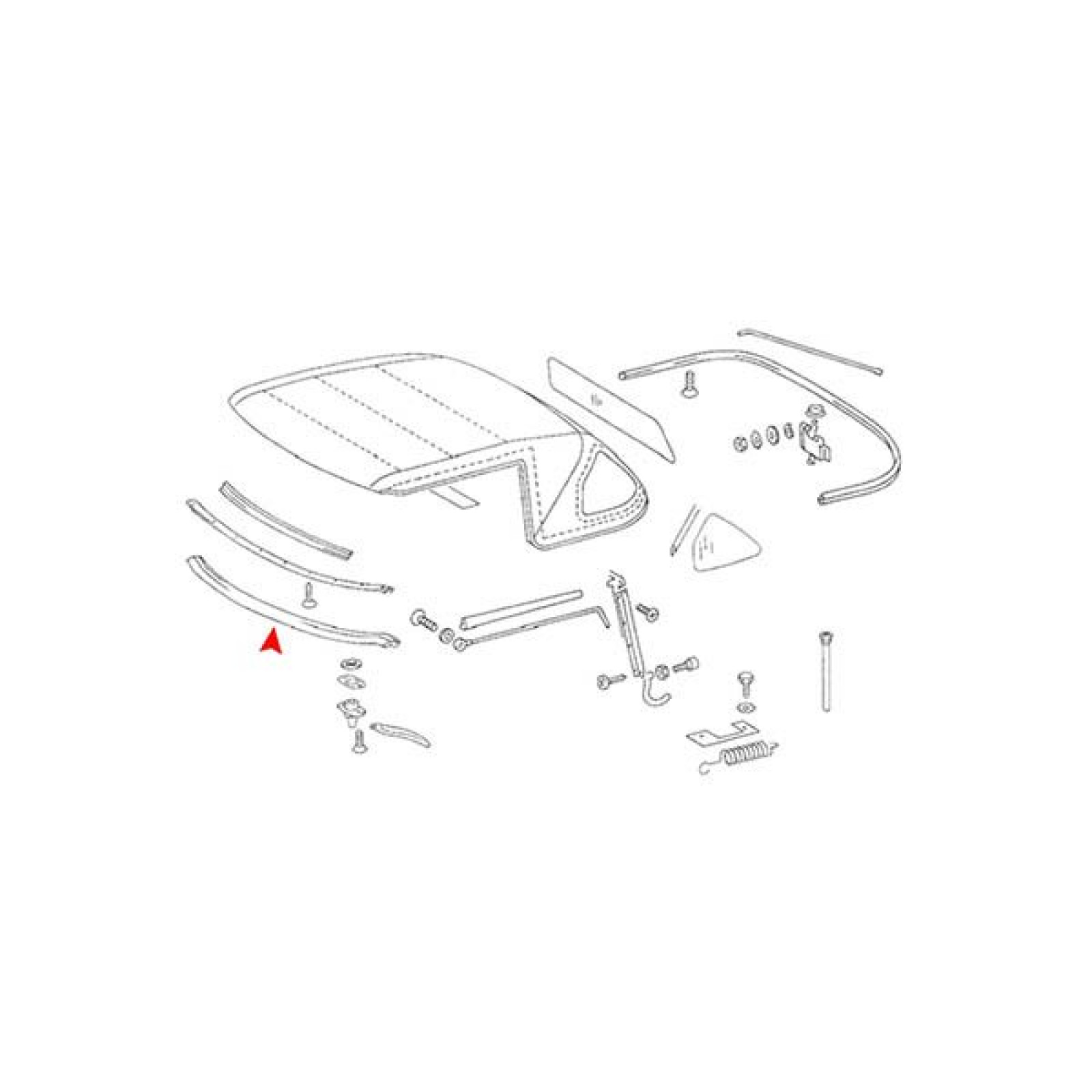 Mercedes-Benz SL 107 Front Roof Weather Seal 1077790022