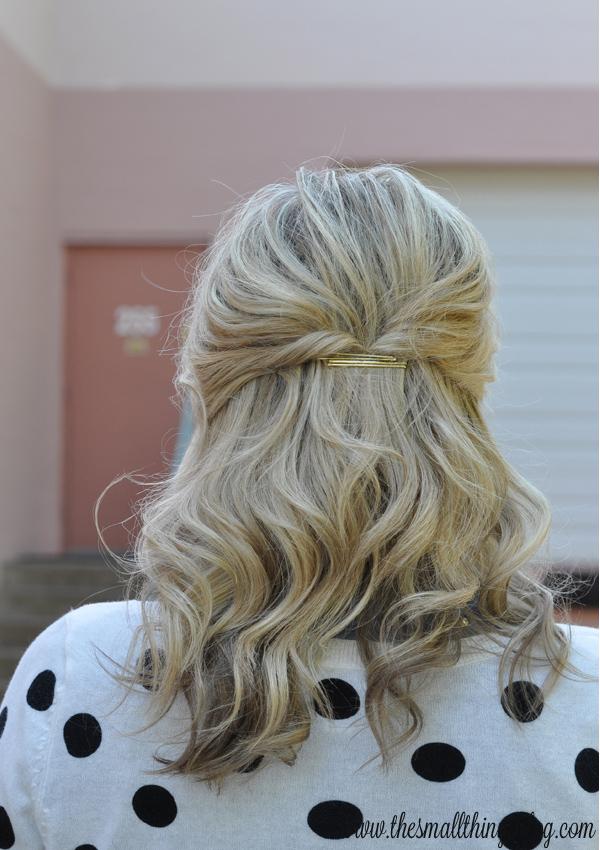 Casual Half Up Hair Tutorial Polka Dots The Small