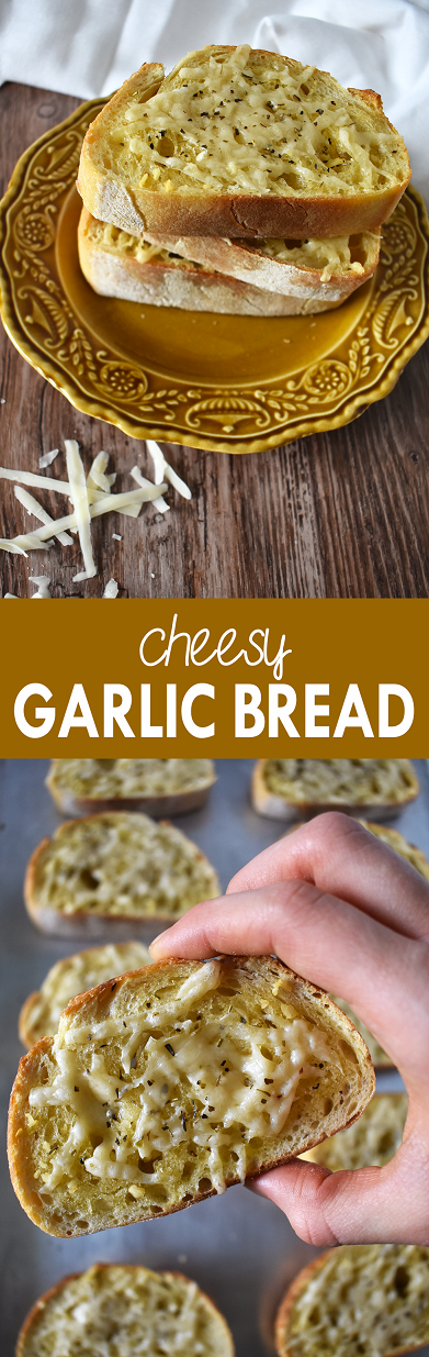 A simple recipe for cheesy garlic bread made with just a few ingredients | The Small Town Foodie