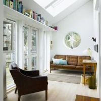 Home Office Book Shelves Above the Window and Door.