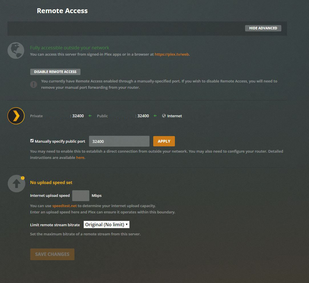 Plex Remote Access Settings