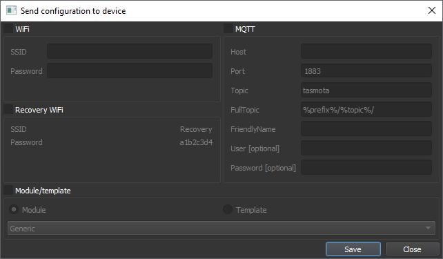 Tazmotizer Send Config Screen