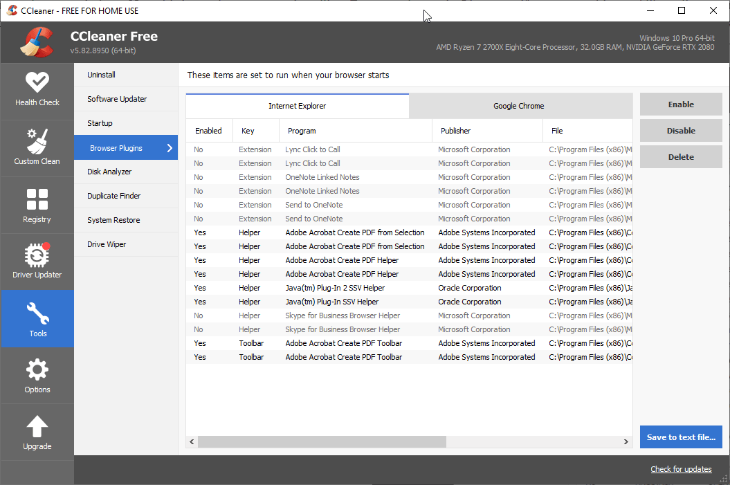 CCleaner Browser Extensions