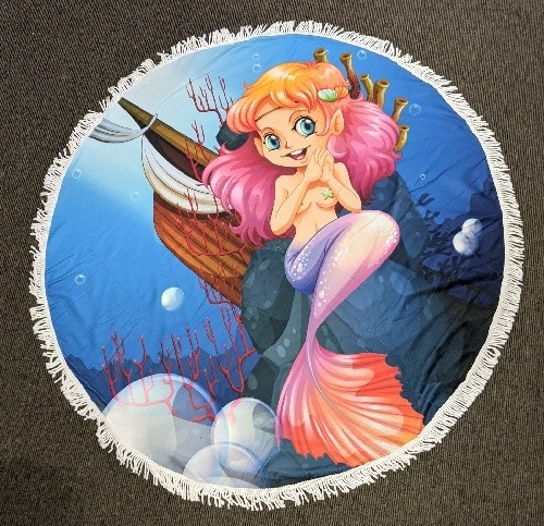 Mermaid Glamour Round Beach Towel