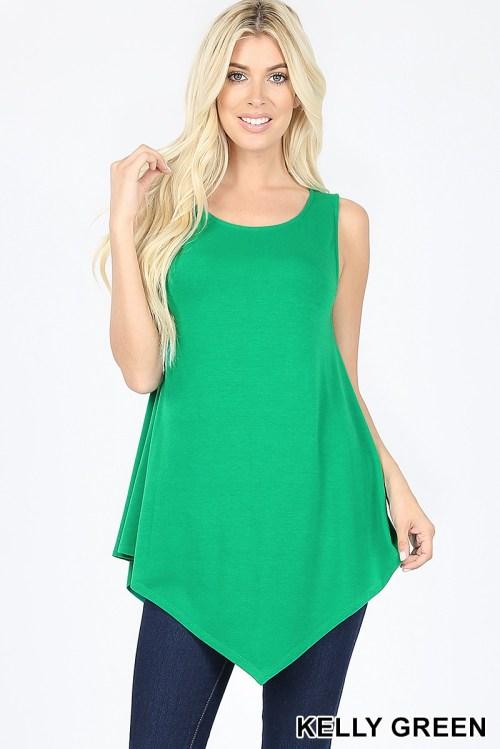 RT-1894P-Green Sleeveless Ladies Top