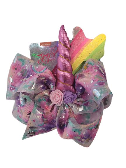 JoJo Planet Rainbow Stars Pink Unicorn Bow