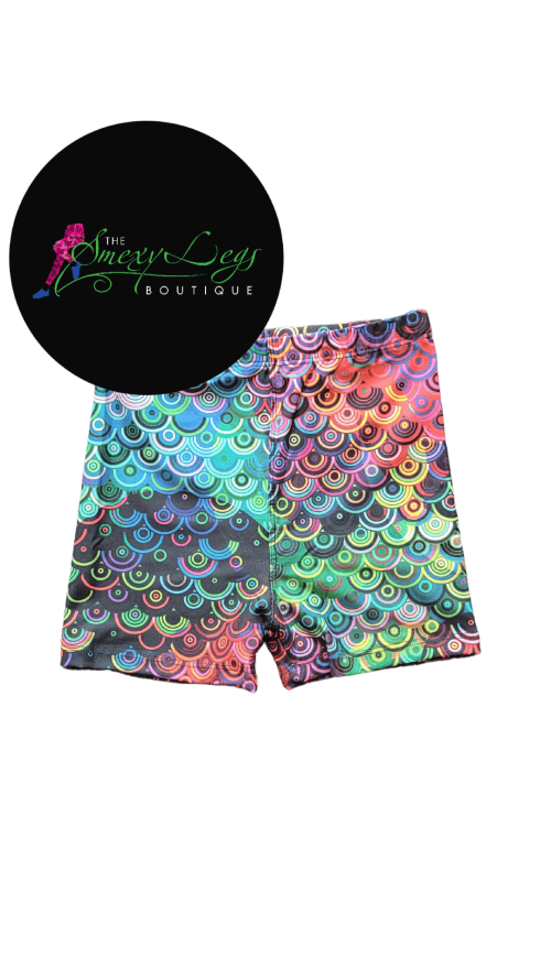Record Circles Printed Kids Bike Shorts