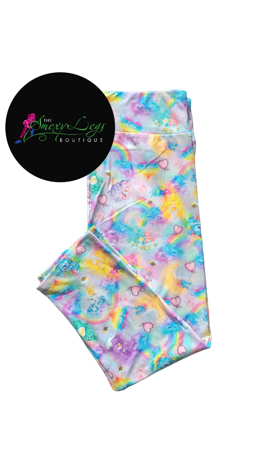 Care Bear Clouds Printed Capri Length Yoga Band Leggings