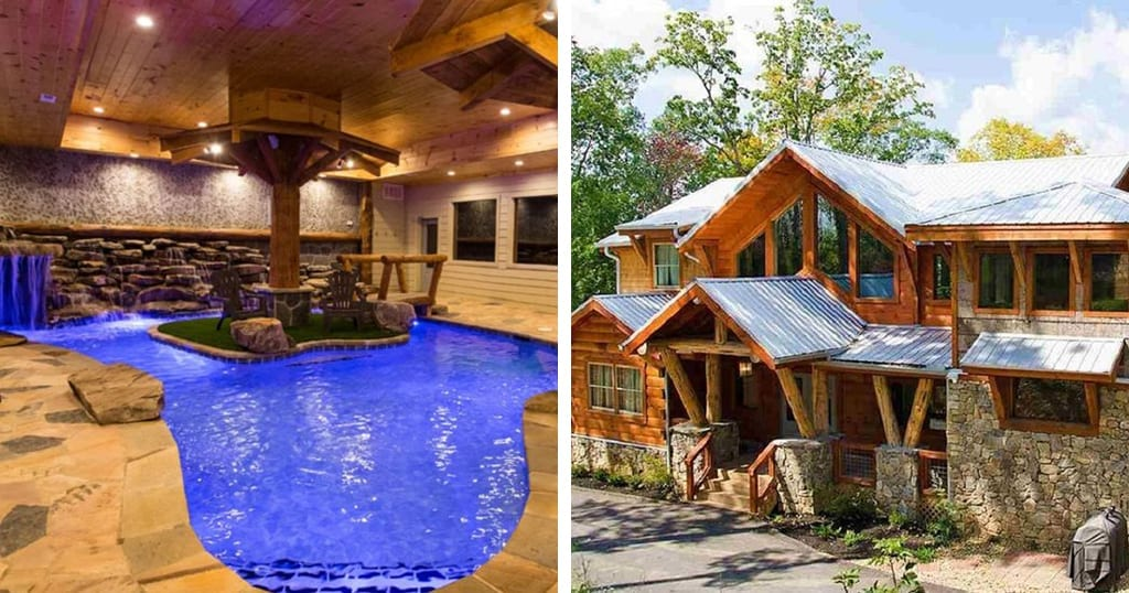 This cabin features a large indoor pool and a game loft (photos courtesy of VRBO)