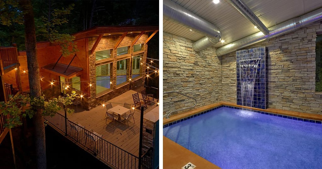 This cabin features a large Indoor pool, waterfall and three master suites (photos courtesy of VRBO)