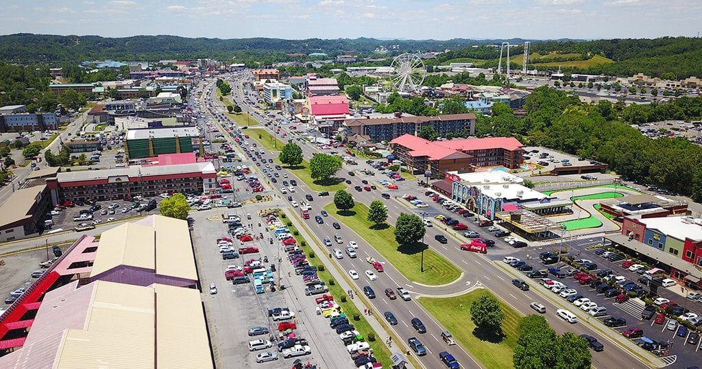 Aerial view of traffic in Pigeon Forge