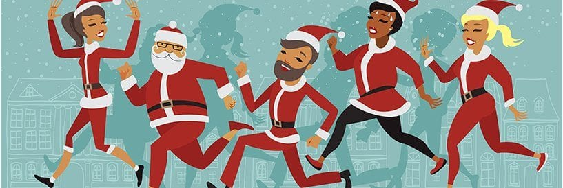 Cartoon Santas Jogging