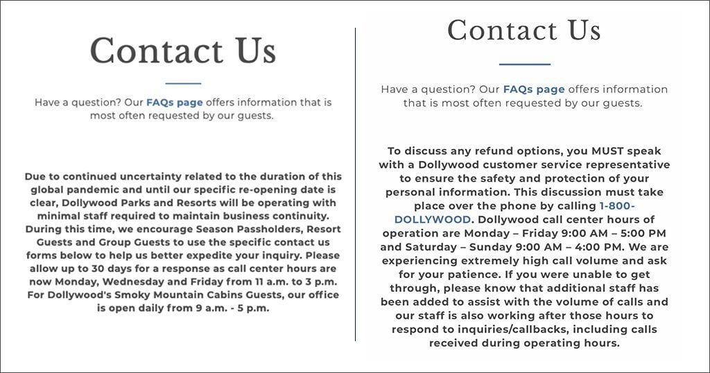 Dollywood's original customer service instructions (left) versus the current announcement regarding refunds (right). (screenshots from Dollywood.com)