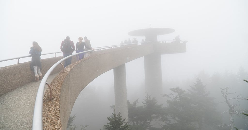 Guests visit Clingmans Dome in the Great Smoky Mountains National Park (stock photo)