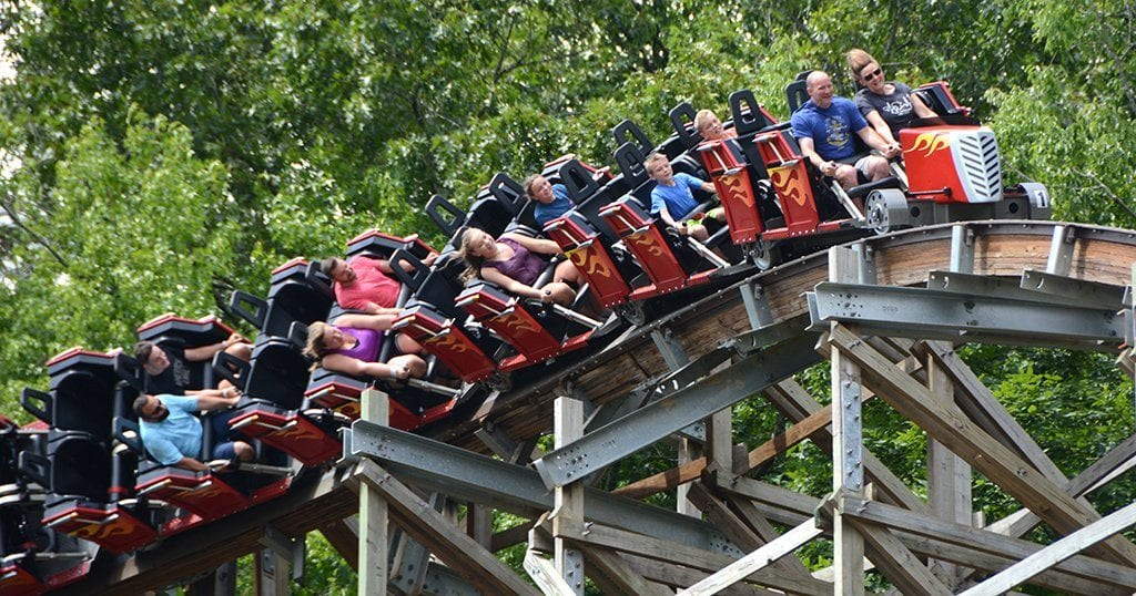 A family rides Dollywood's Lightning Rod (photo by Daniel Munson/TheSmokies.com)