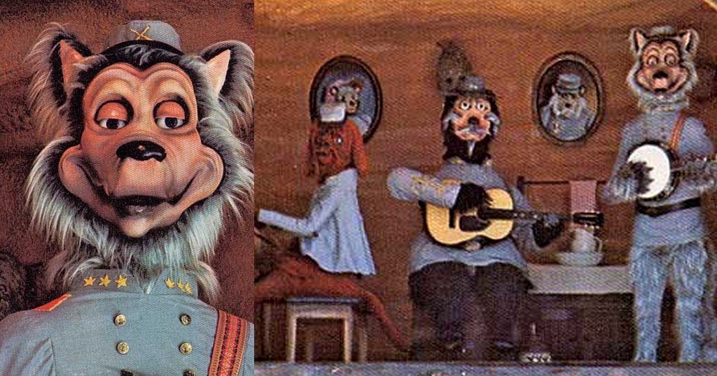 The Confederate Critter Show was an animatronic show featuring a variety of characters dressed up as Confederate officers and singing mountain ballads (archive photo from a late 1970s Magic World Brochure/TheSmokies.com)