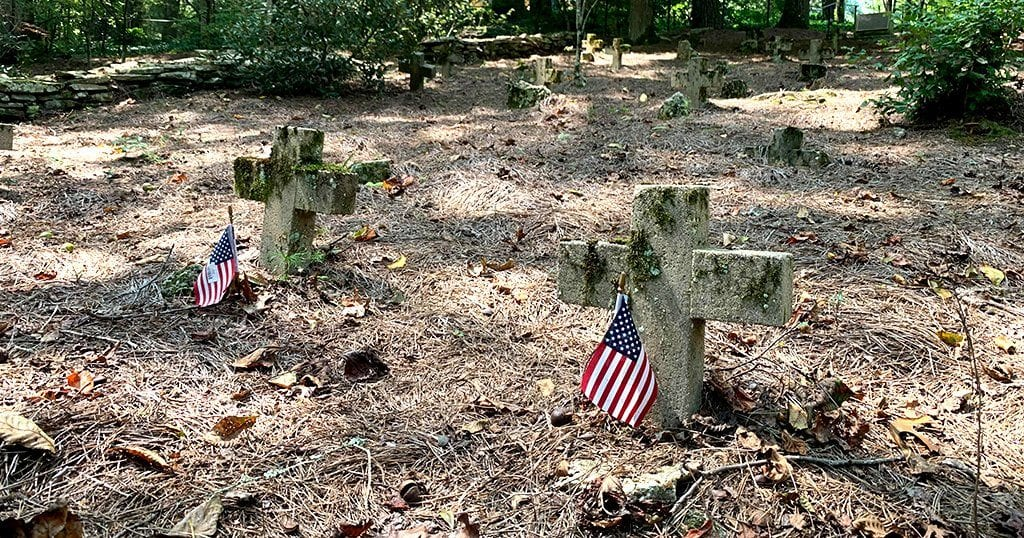 Members of St. John in the Wilderness' congregation often brought their slaves to the service and servants and those slaves who worshipped in the church were buried in the graveyard (photo by John Gullion/TheSmokies.com)