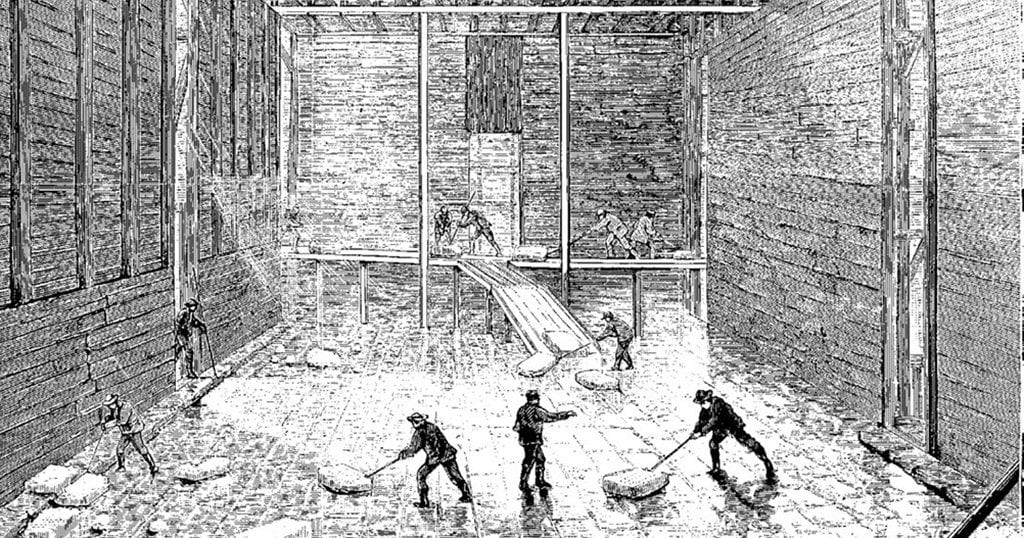 Ice being stacked at Barrytown, New York, 1871 (commons.wikimedia.org)
