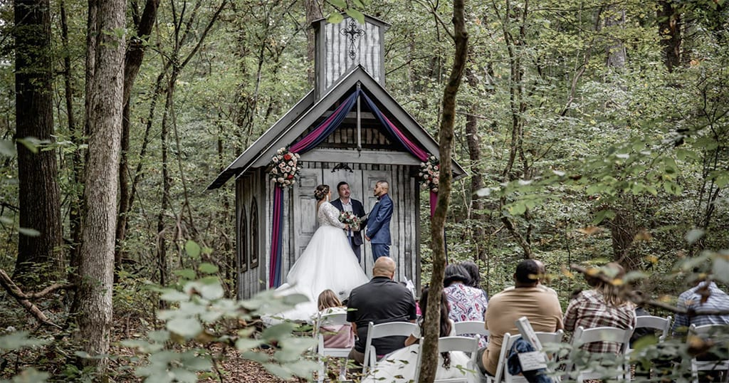 While located a bit off of the beaten path - you might want to consider this picture-perfect intimate wedding venue – Chapel in the Hollow – which is family-owned by a local photographer and ordained minister (photo courtesy of Chapel in the Hollow)