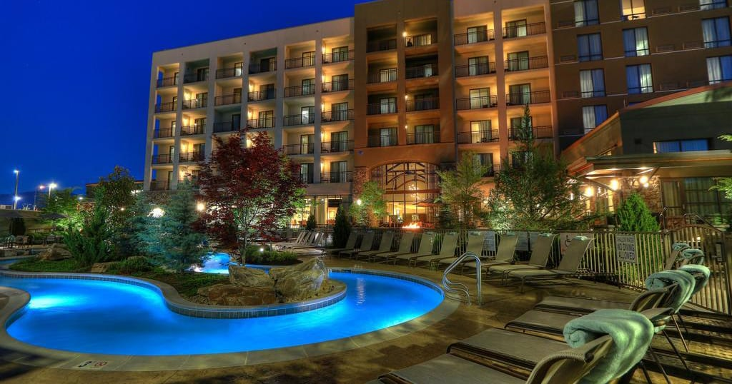 The hotel features a full-service bar, an indoor and outdoor pool, a hot tub, a lazy river, three fire pits, biking and walking trails, an onsite restaurant and a 24-hour coffee shop.