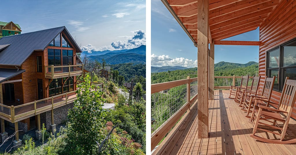 These incredible views are located just 4.2 miles from downtown Gatlinburg in North Chalet Village (photos courtesy of North Skyline Chalet/VRBO)