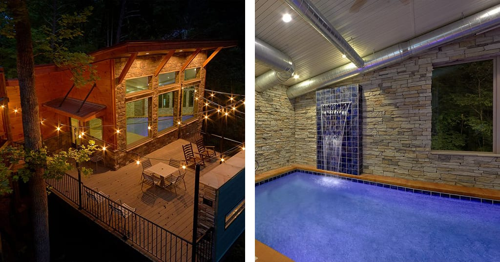 Guests will enjoy this massive indoor pool in the Smokies (photos courtesy of Heritage Log Home/VRBO)