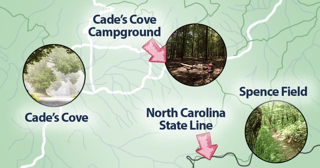 A map shows the area of Cades Cove nearby Spece Field, on the North Carolina state line