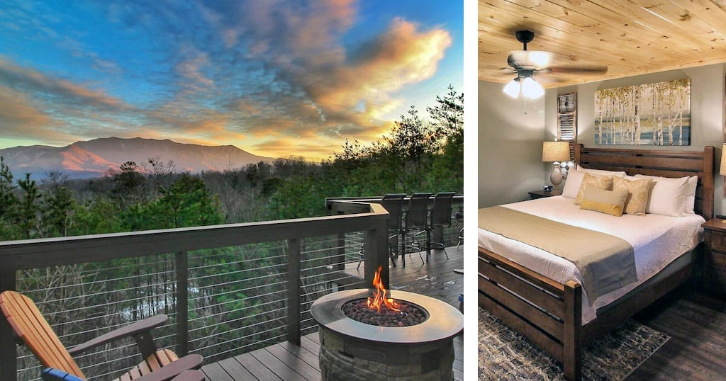 This cabin is located near the Arts and Crafts community in Gatlinburg and is hosted by the award winning Heavens Cabins (photos courtesy of Heavens Cabins/VRBO)