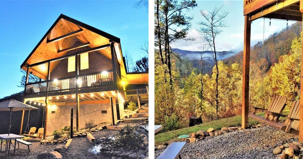 This cabin was built for couples – with two king suites and upgraded matresses (photos courtesy of Couple's Mountain Retreat/VRBO)