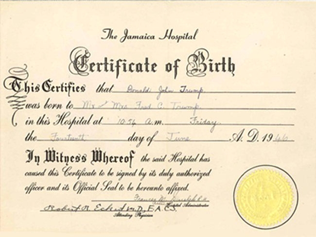 old birth certificate template