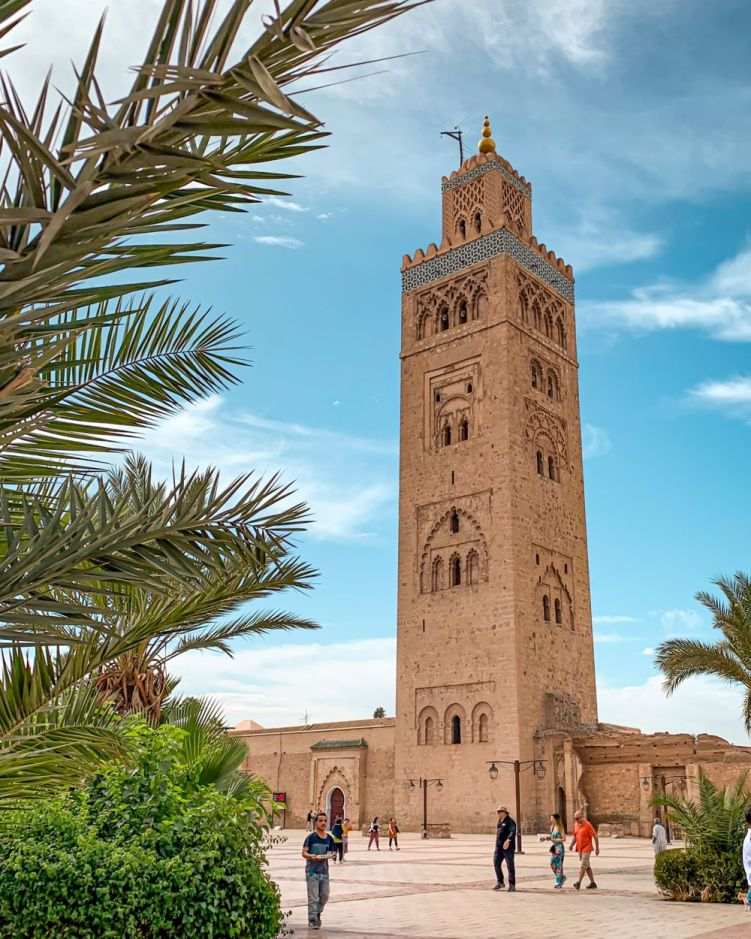 Minaret of the Koutoubia Mosque in the medina of Marrakech in Morocco
