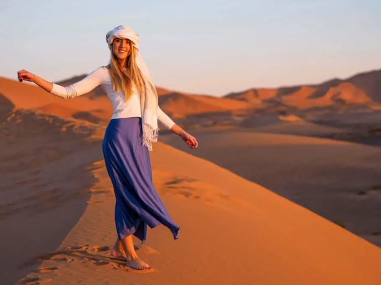 Sunrise over Erg Chebbi sand dunes near Merzouga, Sahara desert