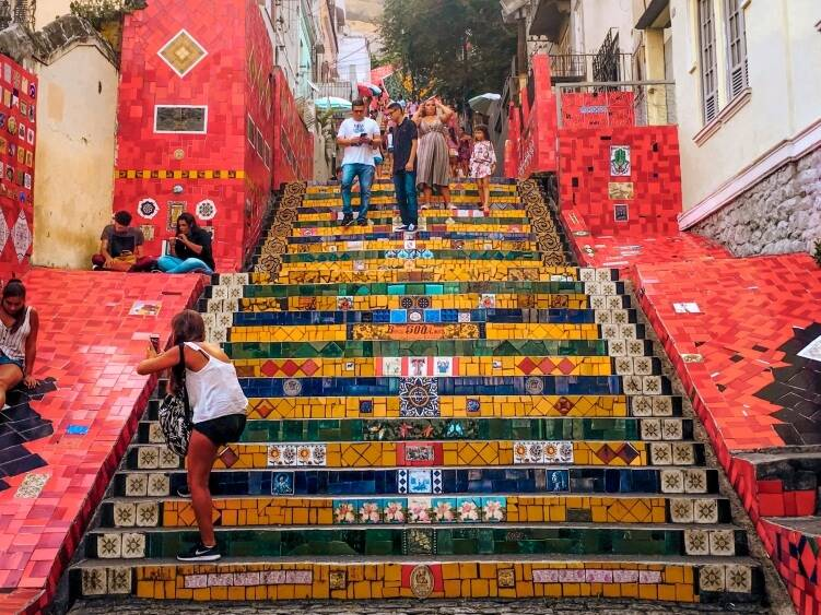 Selaron stairs consisting of hundreds of steps covered with colorful mosaic tiles collected from all over the world; one of the top tourist attractions in Rio