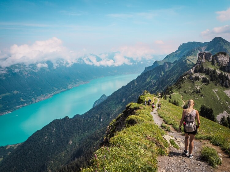Views over a turquoise lake from the mountains near Interlaken, Switzerland