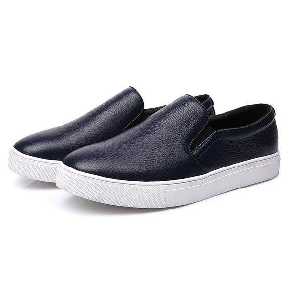 Men's Breathables Slip-On Leather Flat Loafers Casual Shoes