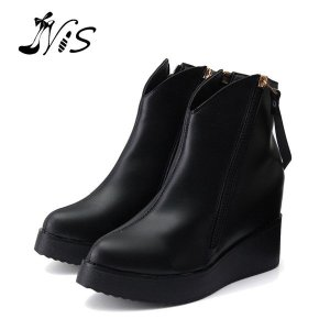 Leather Wedge Heel Boots Online