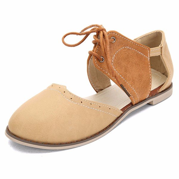 7a9fff035d313 Big Size Pu Hollow Out Color Match Lace Up Oxford Flat Sandals - The ...